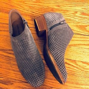 Lucky Brand Basel Perforated Ankle Boots-Size 9.5